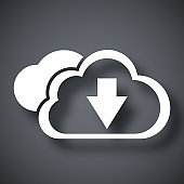 Vector cloud computing download icon
