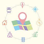 Navigation icon set, mobile location