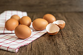 Fresh eggs on the wooden table