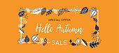 Autumn sale background banner with leaves for shopping sale or promo poster and frame leaflet or web banner. Vector illustration template.