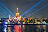 Laser show in yee peng festival under loy krathong day at Wat Arun