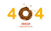 404  error page not found vector with donut graphic