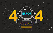 404 error with astronaut line in galaxy background