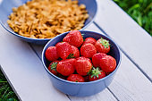 Delicious strawberry with corn flakes