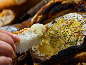 Camembert fondue in bread bowl