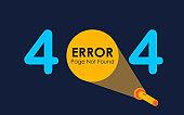 404 error with light of flashlight graphic on dark background