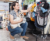 Positive woman holding dog and choosing clothes