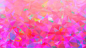 Abstract low poly background of triangles in Pink, rainbow, multicolor colors. Substrate for design. 16:9