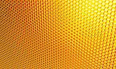 Macro, honeycomb. Background of orange, yellow hexagons