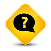 Question mark bubble icon elegant yellow diamond button
