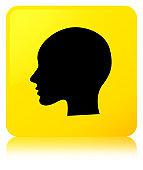 Head woman face icon yellow square button