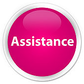 Assistance premium pink round button