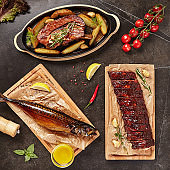 Set of Smoked and Grilled Food