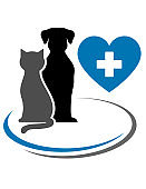 dog cat and blue heart