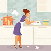 Beginner housewife vector