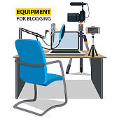 Workplace for blogger. Equipment for blogging