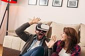 Man watching a VR video