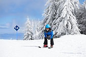 Boy skiing in mountains