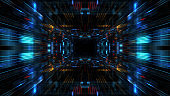 Abstract futuristic sci fi warp tunnel with particle grid.
