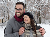 Happy young couple on snow