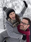 Happy couple on snow