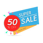 Super Sale banner on colorful pastel background. up to 50% off. vector illustration. esp 10.