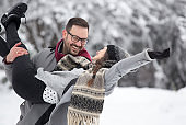 Couple having fun on snow