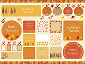 Set of assorted frames in autumn colors and elements.