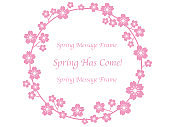 Circular vector frame with cherry blossom.