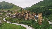 Aerial view of Ushguli village in Georgia