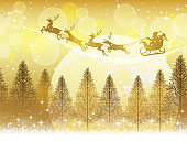 Seamless Christmas background with Santa Claus and reindeers flying across the moon.