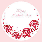 Circular vector carnation frame with text space for Mother's Day, Valentine's Day, bridal, etc.
