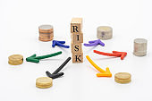 Risk of Avoiding Risk The concept of risk diversification of a business or organization. For the unexpected. as background business concept and strategy concept with copy space.