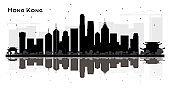 Hong Kong China City Skyline Black and White Silhouette.
