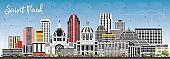 Saint Paul Minnesota City Skyline with Gray Buildings and Blue Sky.