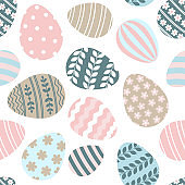 Happy Easter greeting seamless pattern with decorated painted Easter eggs