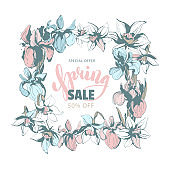 Spring sale discount hand drawn floral background flowers frame border
