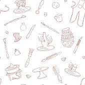 Pottery Studio seamless pattern background. hand drawn vector illustration doodle style