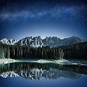tranquil alpine scenery at night