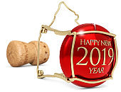 2019 New Year's champagne cork isolated on white