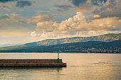 Red lighthouse on a pier, Croatia