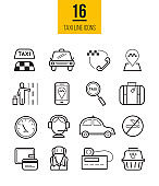 Taxi app linear icons set. Vector travel symbols collection.