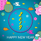 2019 Happy asians New Year postcard,Oriental asian traditional korean japanese chinese style pattern decoration elements,web page circles background.Koreans tradition ornate clouds,flowers,shapes