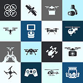 Digital vector flying drone objects color