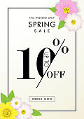 Spring sale background with beautiful flower,ten percent off,vector illustration template, banners, Wallpaper, invitation, posters, brochure, voucher discount.