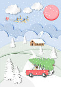 paper art of Santa Claus with reindeer on blue sky and landscape view background,Christmas,Festival, Pastel,vector