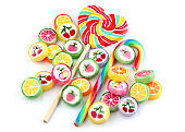 Colorful lollipops and different candy.