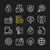 Data security line icons. Cybersecurity concepts. Modern graphic elements, minimal simple outline stroke thin line design symbols. Vector icons set