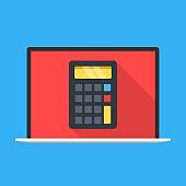 Laptop with calculator on screen. Online calculator. Modern flat design. Vector illustration