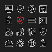Internet security, data protection line icons. Modern graphic elements, minimal simple outline stroke thin line design symbols. Vector icons set